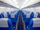 blue seats in plane